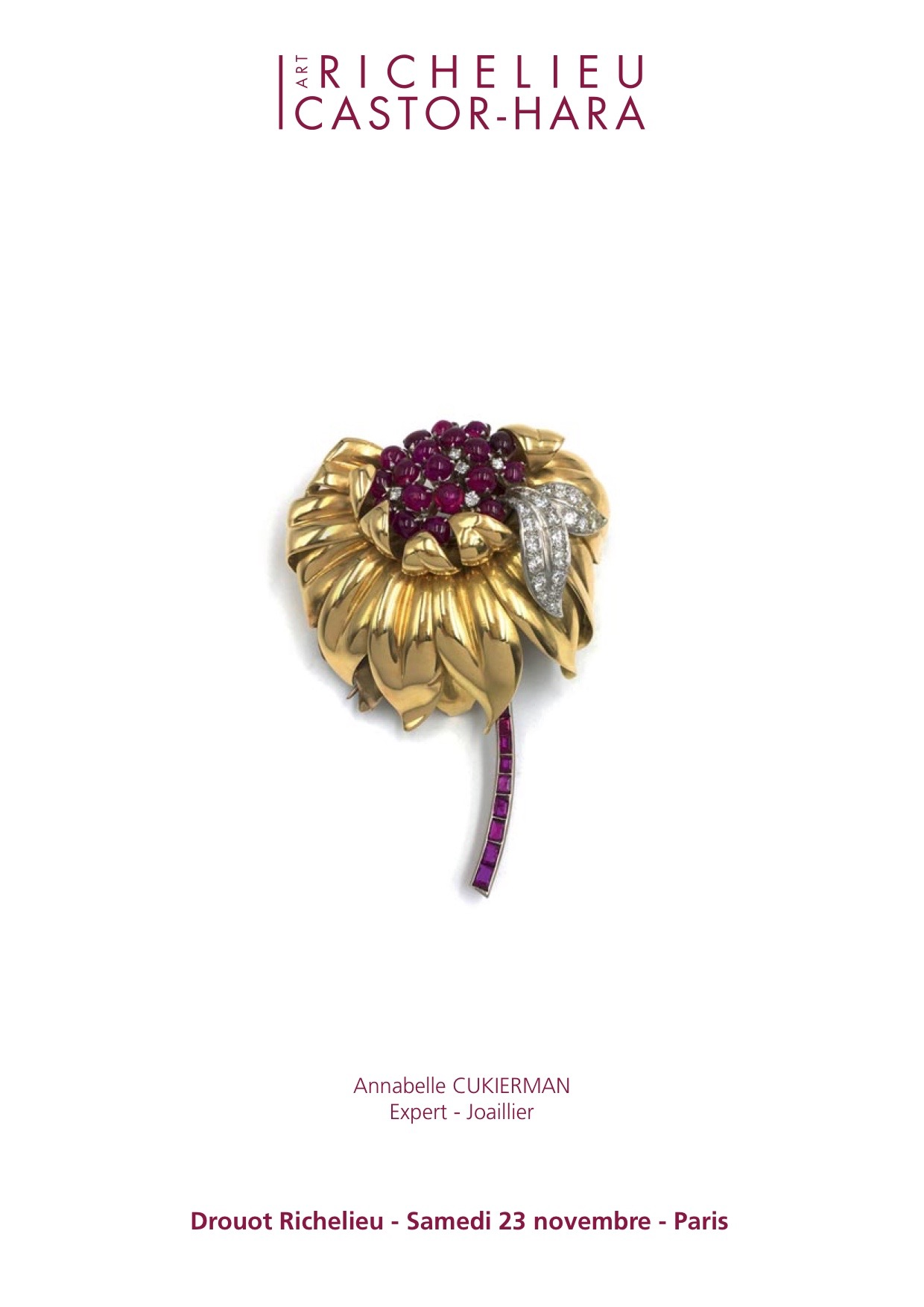 clip de corsage 1950 Expert Cukierman ventes aux encheres jewellery