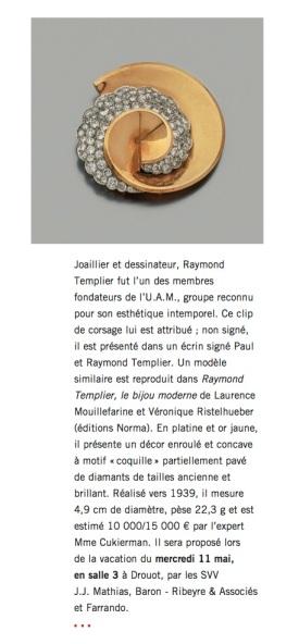Raymond Templier clip de corsage