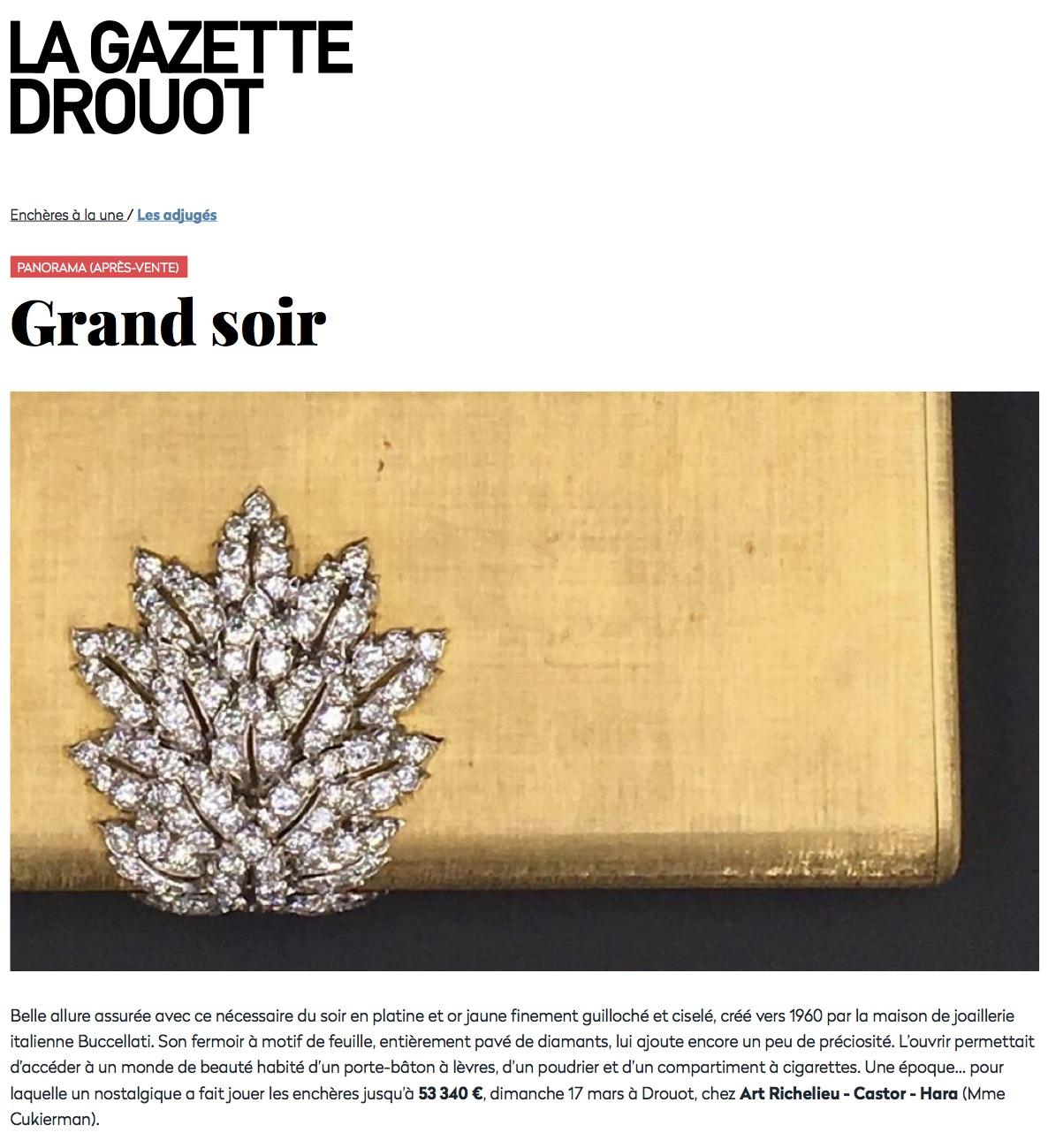 Après-vente Grand soir Gazette Drouot Expert Cukierman vente aux encheres jewellery and watches