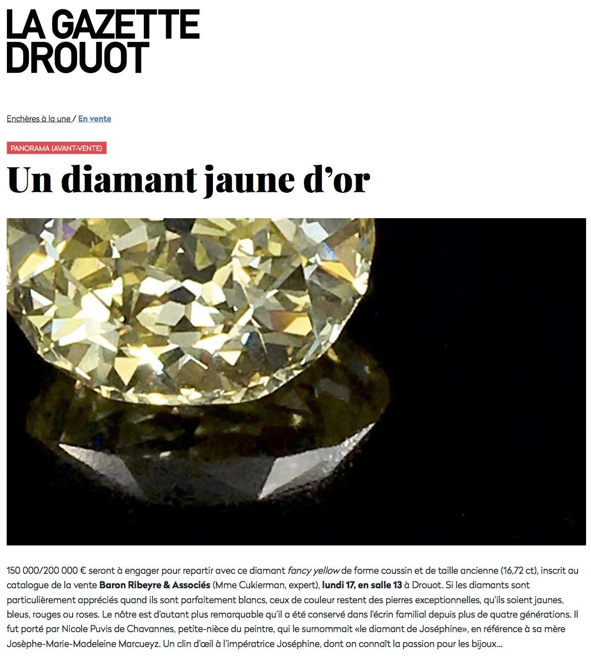 Avant-vente - Un diamant jaune d'or