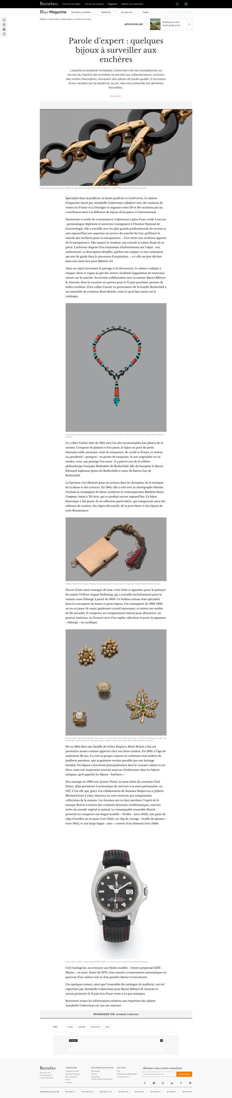 Parole d'expert _ quelques bijoux à surveiller aux enchères _ Magazine Barnebys