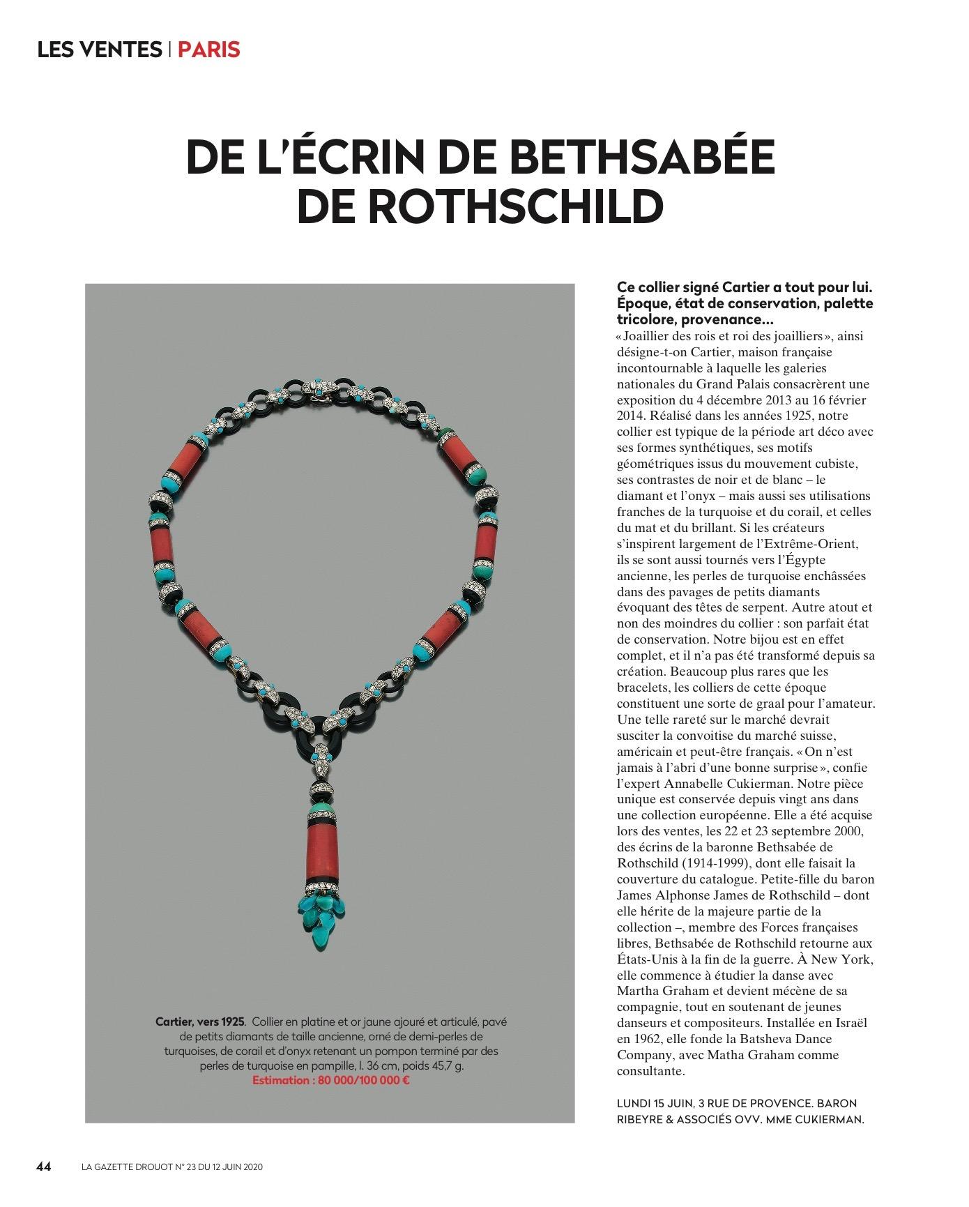Cartier DE L'ÉCRIN DE BETHSABÉE DE ROTHSCHILD