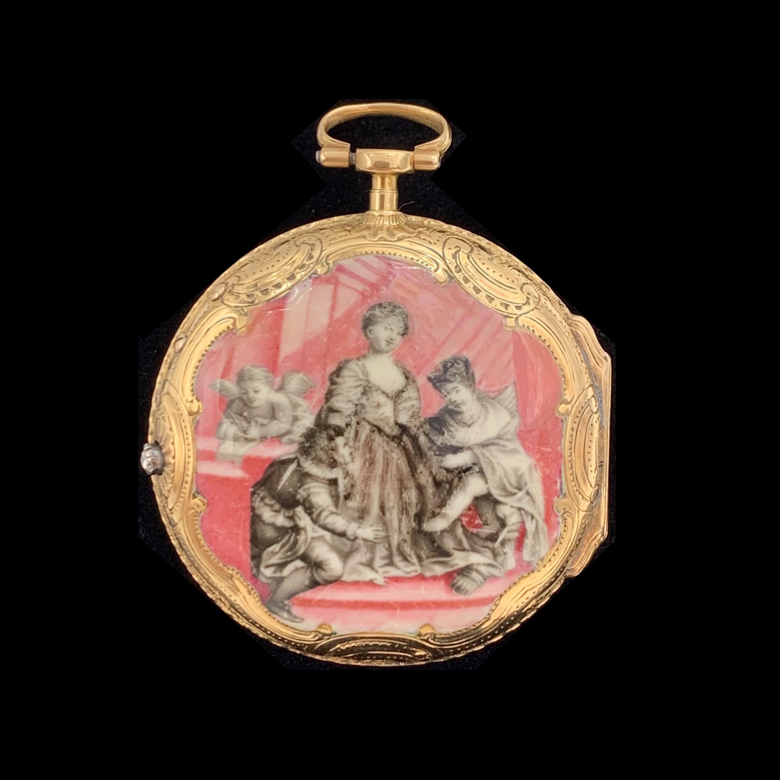 119. BALTAZAR MONTRE DE POCHE à verge en or jaune (750‰) ciselé, orné d'un miniature en émail peint en grisaille sur fond rose représentant une scène composée de deux femmes, un amour et un prétendant. Cadran émail blanc (choc), chiffres romains, lunette et aiguilles ajourées serties de diamants taillés en rose. Mouvement à coq en laiton doré signé BALTAZAR Paris, et numéroté 8278. Deuxième moitié du XVIIIème siècle. Cal. : 42 mm. Poids brut : 49,9 g. 1.000/2.000 Expert Cukierman