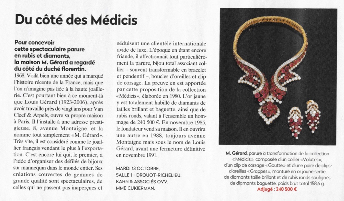 M gerard article expert cukierman jewellery record encheres